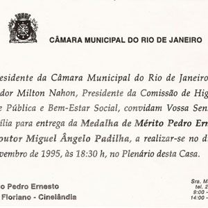 Convite para a cerimônia na Câmara Municipal do Rio de Janeiro.